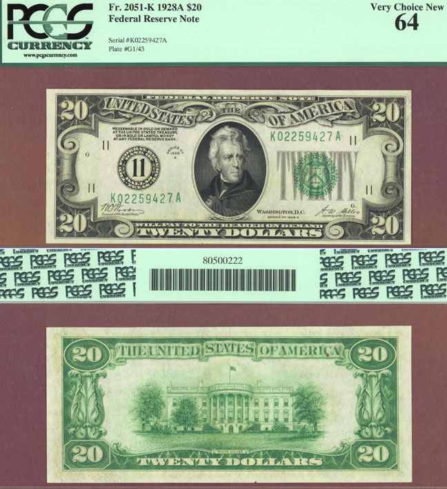 1928-A - $20.00 FR-2051-K Numeral Note US small size federal reserve note PCGS Very Choice New 64