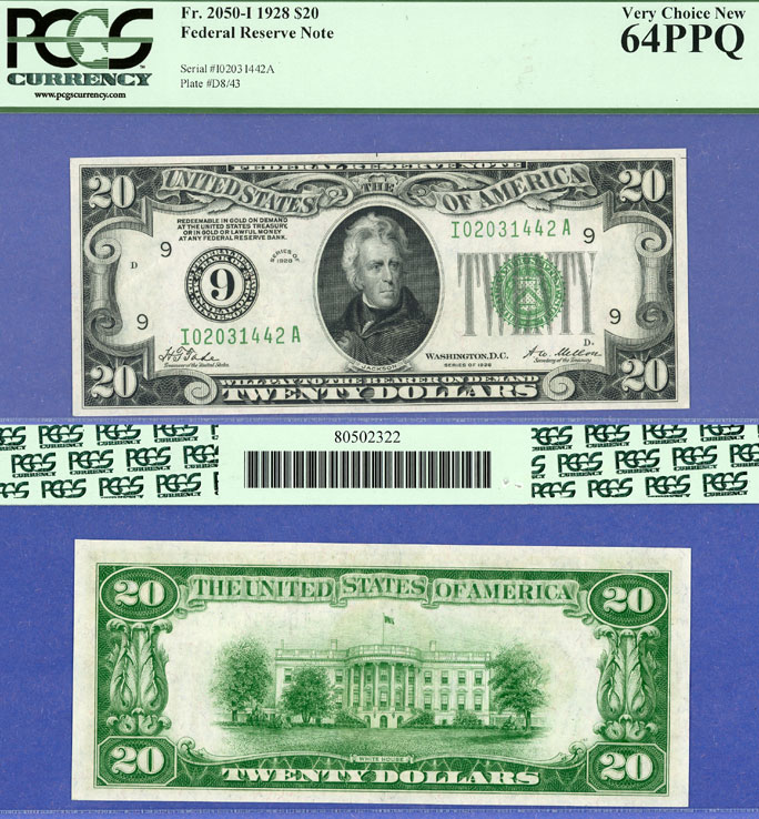 1928 - $20.00 FR-2050-I Numeral Note US small size federal reserve note PCGS Very Choice Uncirculated 64 PPQ