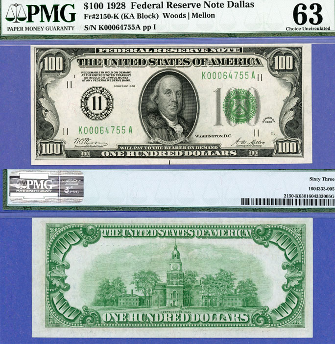 1928 $100 FR-2150-K US small size federal reserve numeral note PMG Choice Uncirculated 63
