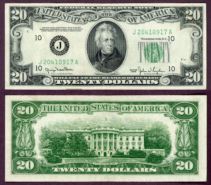 1950 $20 FR-2059-J US small size federal reserve note