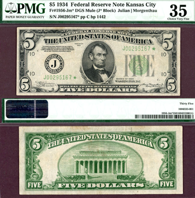 "1934 $5 FR-1956-J* DGS ""STAR"" US small size federal reserve note PMG Choice Very Fine 35"
