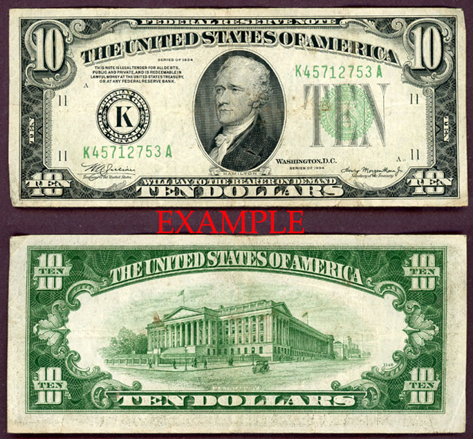 1934 $10 US small size federal reserve note green seal mule