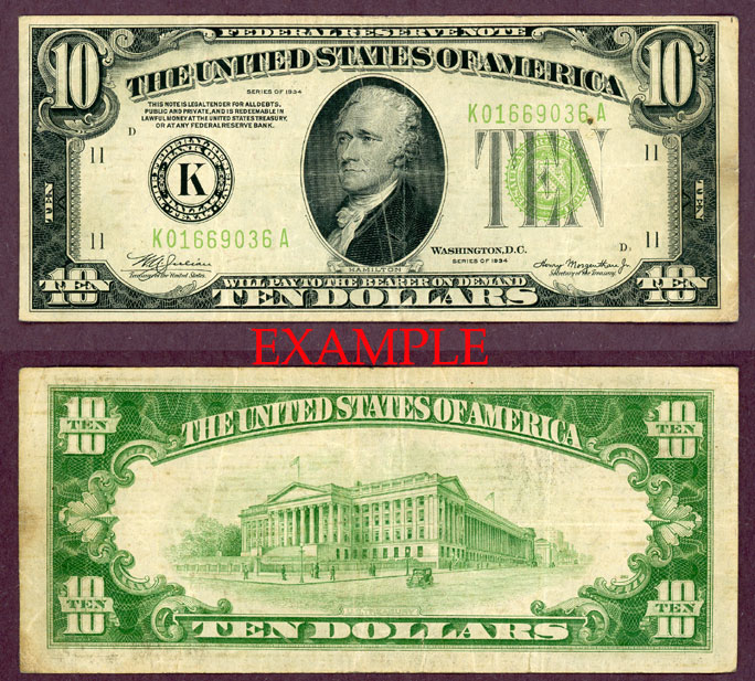 1934 $10 US small size federal reserve note green seal