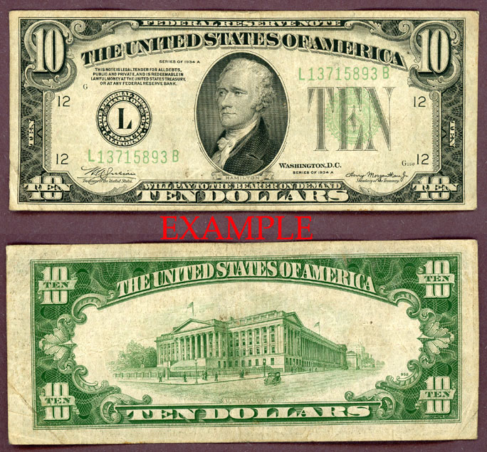 1934-A $10 FR-2006 US small size federal reserve note green seal
