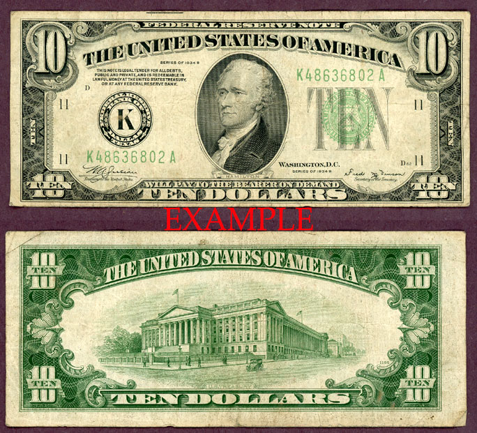 1934-B $10 US small size federal reserve note green seal