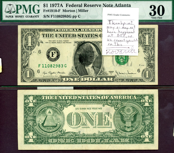 1977-A $1 FR-1910-F small federal reserve note green seal
