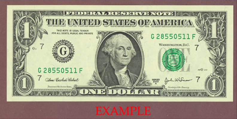 2003-A - $1 US Federal Reserve Note