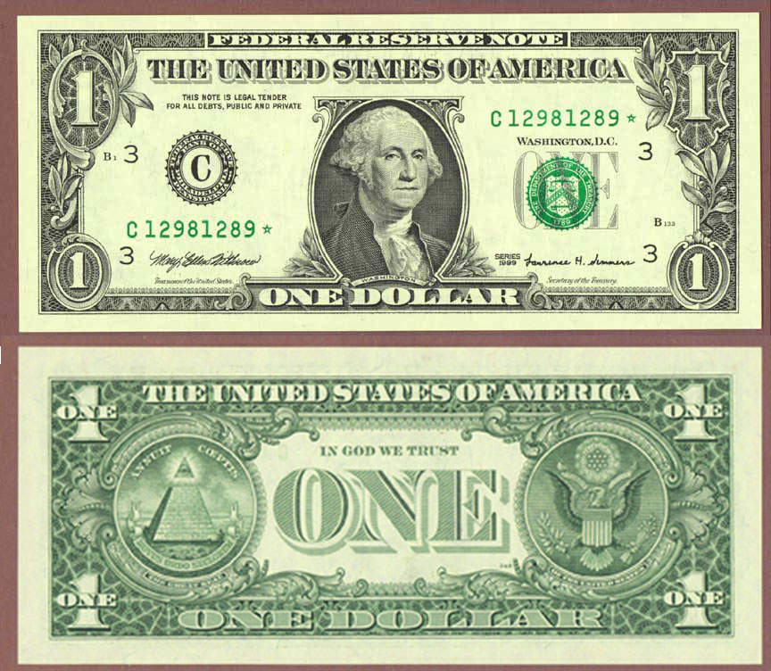 "1999 $1 *STAR* ""Repeater"" US small size federal reserve note"