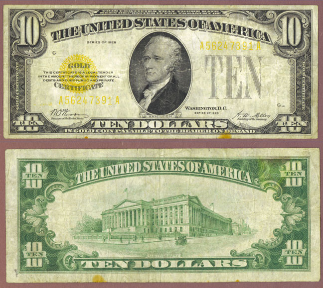 1928 - $10 FR-2400 US Gold Certificate, Small size gold note