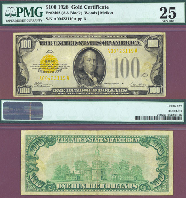 1928 - $100 FR-2405 US $100 Gold Certificate PMG Very Fine 25