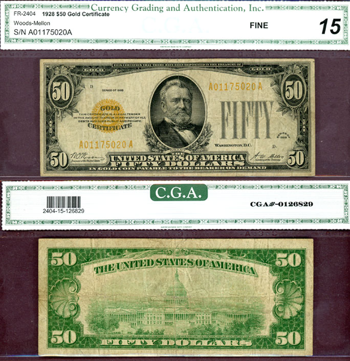 1928 - $50 FR-2404 US small size gold certificates CGA Fine 15