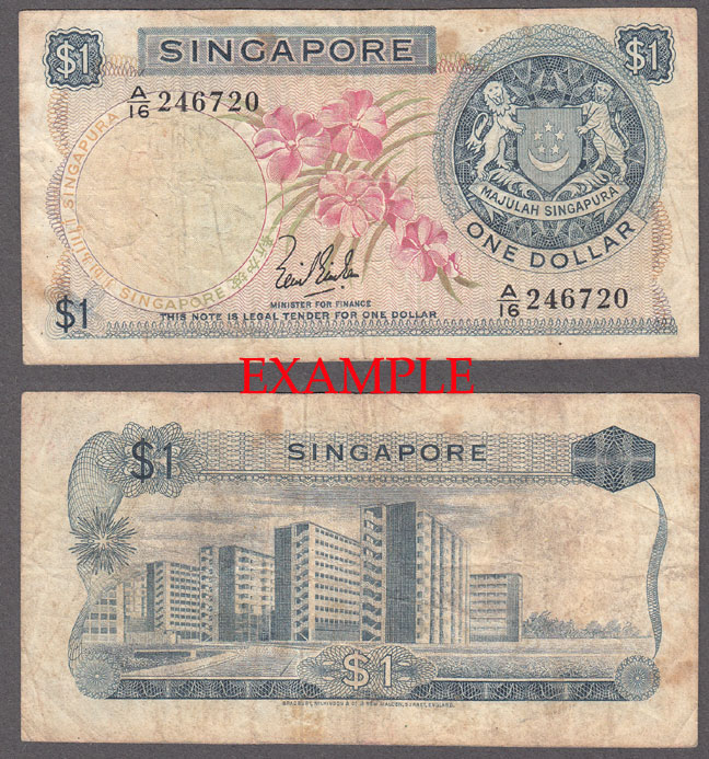 1967-72 1 Dollar Collectable Singapore paper money