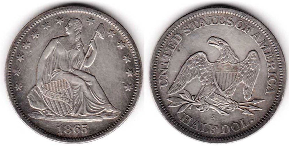 1865-S 50c No Motto US seated liberty silver half dollar