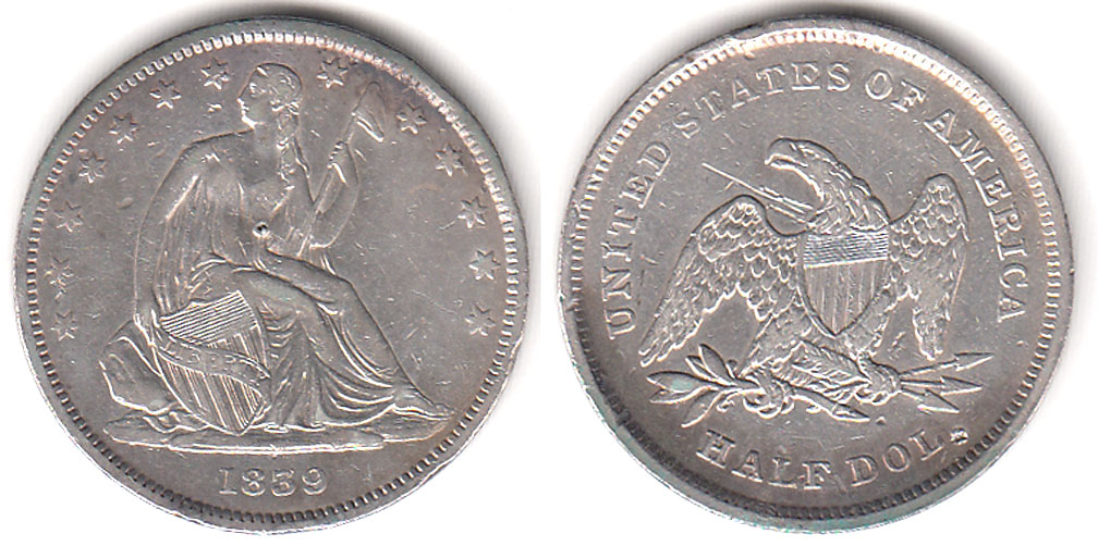 1839 50c No Motto With Drapery US seated liberty silver half dollar