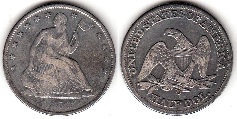 1859-O 50c US seated liberty silver half dollar