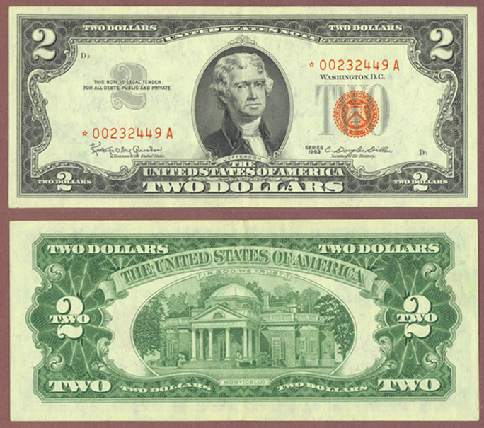 1963 $2 *STAR* FR-1513* US Legal Tender Note