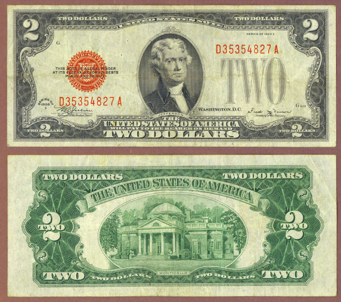 1928-E $2 FR-1506 US small size legal tender note