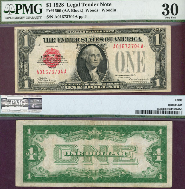 1928 $1 FR-1500 US small size legal tender note red seal PMG Very Fine 30