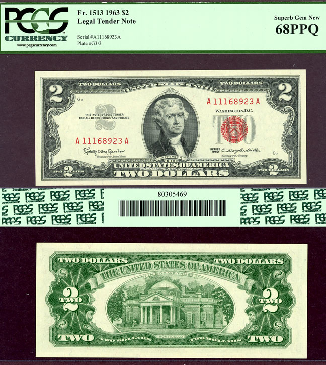 1963 $2 FR-1513 US small size legal tender note PCGSSuperb Gem New 68PPQ