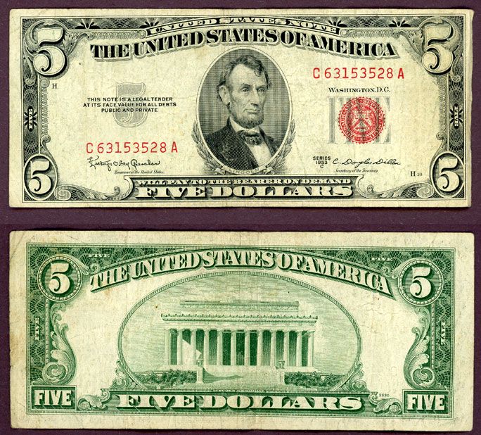 1953-C $5 FR-1535 US small size legal tender note
