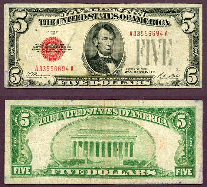1928 $5 FR-1525 US small size legal tender note