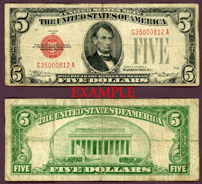 1928-C $5 FR-1528 US small size legal tender note
