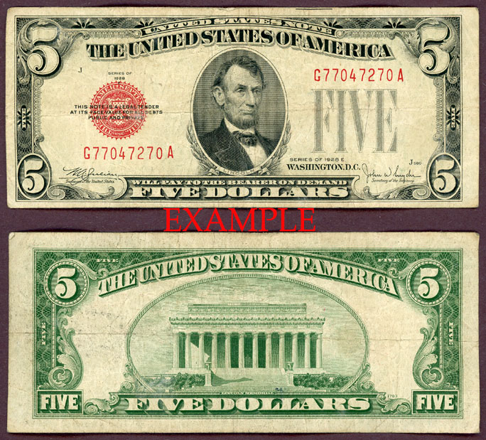 1928-E $5 FR-1530 US small size legal tender note