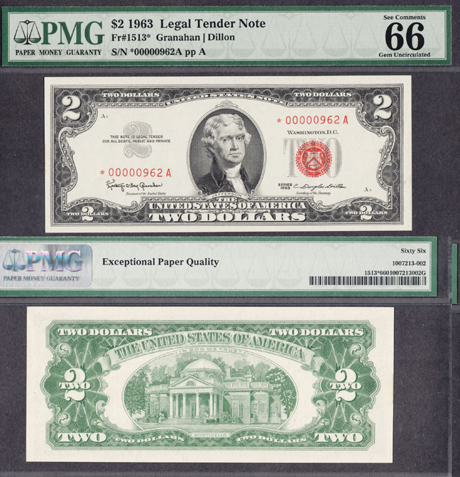 1963 $2 *STAR* FR-1513*US small size legal tender note red seal PMG GEM Uncirculated 66 EPQ