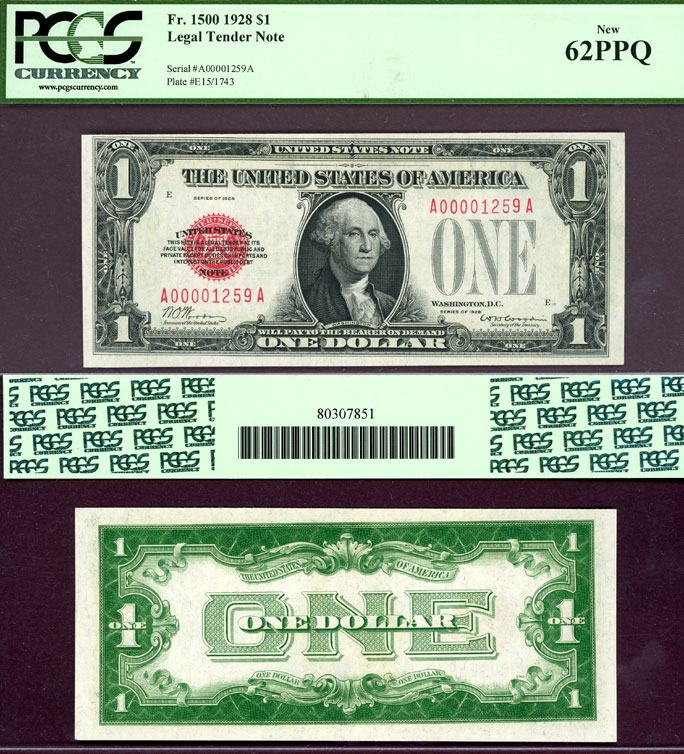 1928 $1 FR-1500 US small size Legal Tender note red seal PCGS Uncirculated 62 PPQ