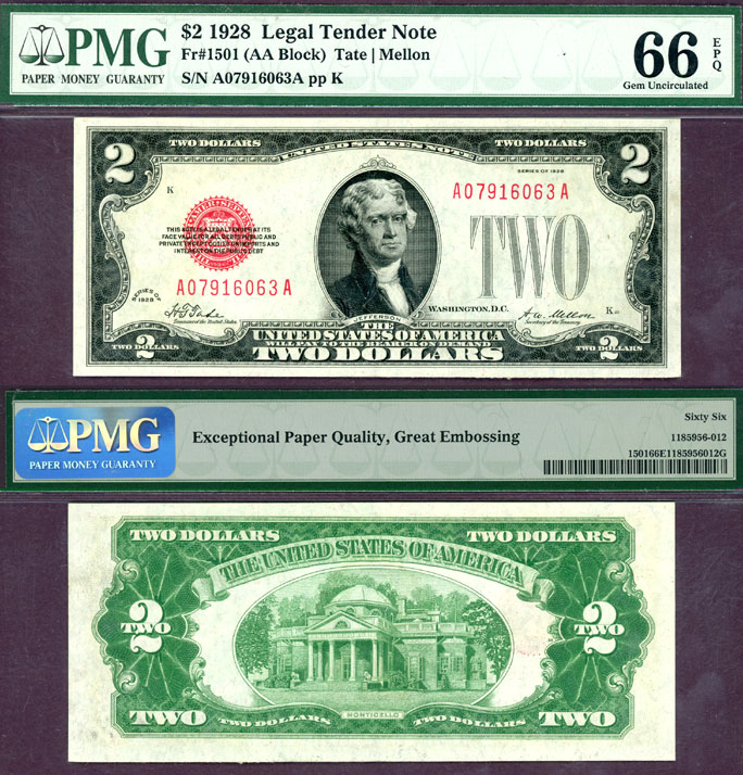 1928 $2 FR-1501 US small size legal tender note PMG Gem Uncirculated 66 EPQ