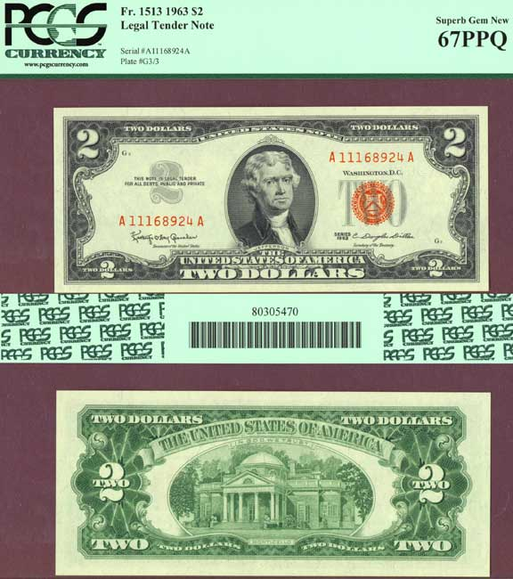1963 $2 FR-1513 US small legal tender note PCGS Superb Gem New 67PPQ