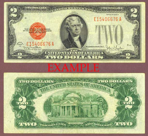 1928-G $2 FR-1508 US small size legal tender note