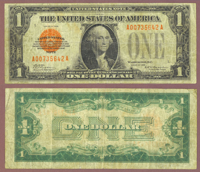 1928 $1 FR-1500 legal tender note, red seal small size note