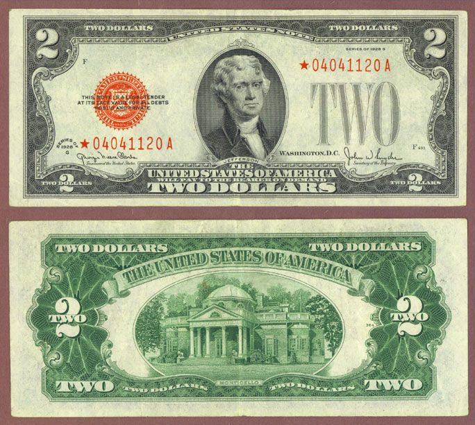 1928-G $2 FR-1508* STAR red seal US legal tender note