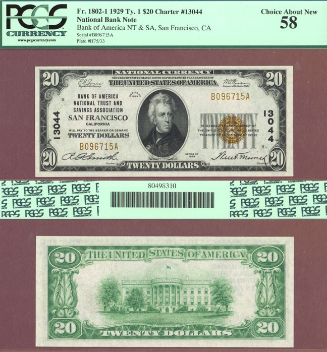 California 1929 $10.00 Type 1 FR-1802-1 Charter 13044 US small size national bank note