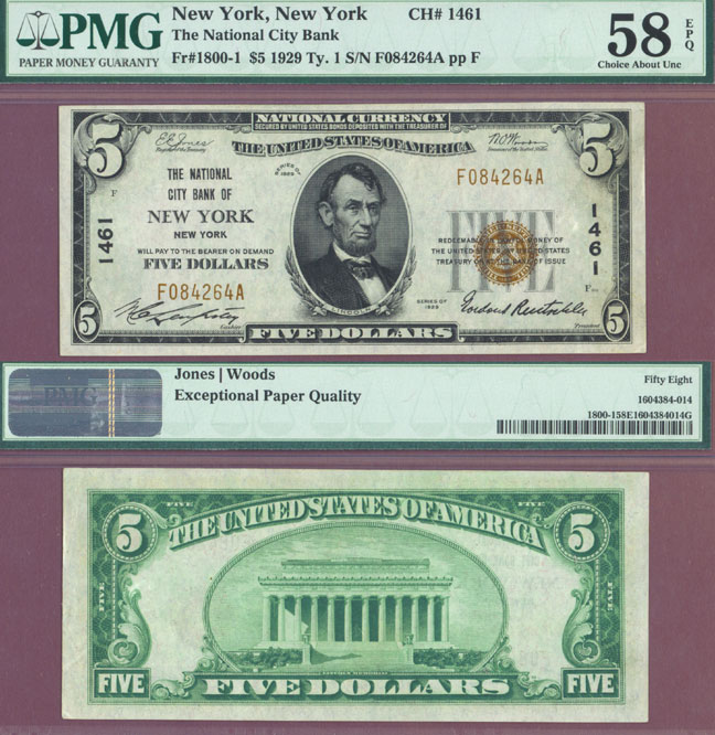 New York 1929 $5.00 Type 1 FR-1800-1 Charter 1461 US small size national bank note