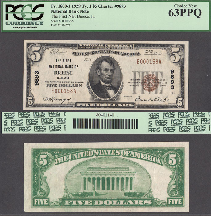 Illinois Breese 1929 $5.00 Type 1 FR-1800-1 Charter 9893 US small size national bank note