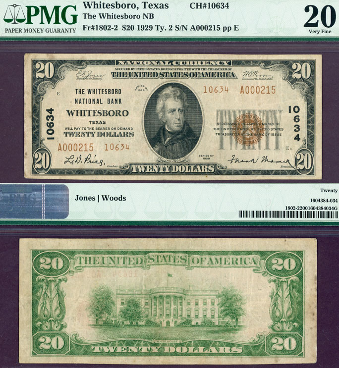 Texas Whitesboro 1929 $20.00 Type 2 FR-1802-2 Charter 10634 PMG Very Fine 20