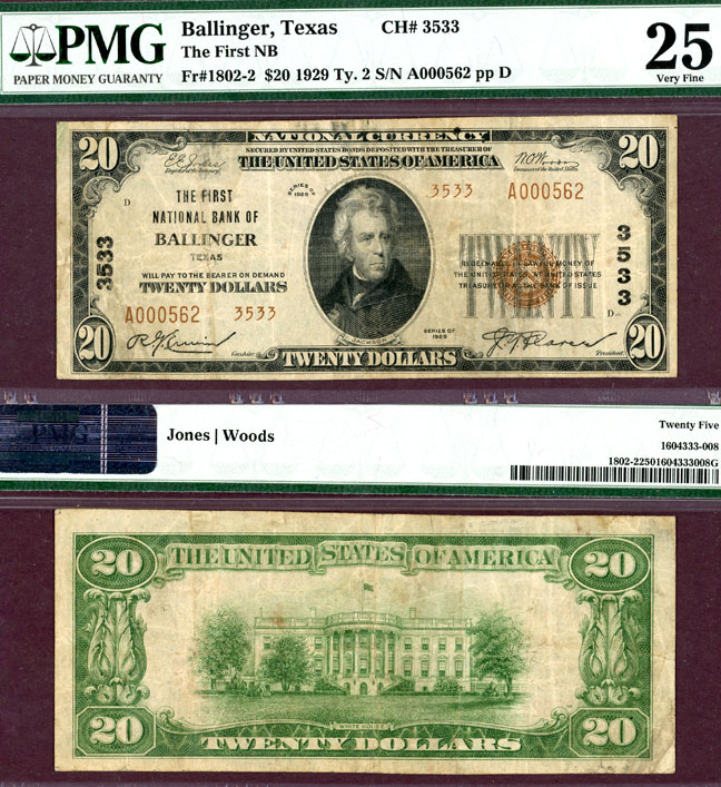 Texas Ballinger 1929 $20.00 Type 2 FR-1802-2 Charter 3533 US small size national bank note PMG Very Fine 25