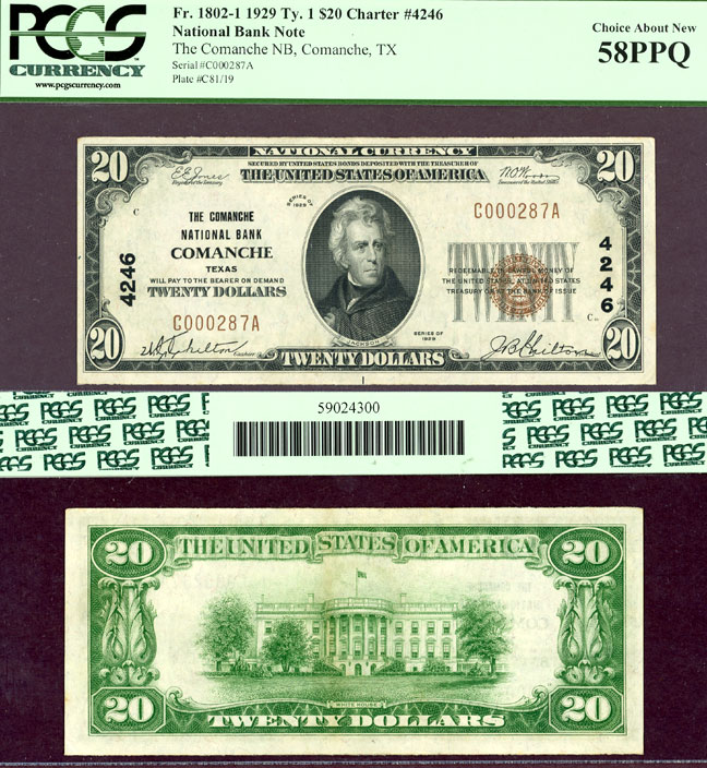 Texas Comanche 1929 $20.00 Type 1 FR-1802-1 Charter 4246 US small size national bank note PCGS Choice About New 58PPQ