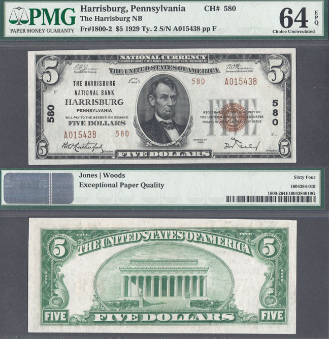 Pennsylvania Harrisburg1929 $5.00 Type 2 FR-1800-2 US small size national bank note PMG Choice Uncirculated 64 EPQ