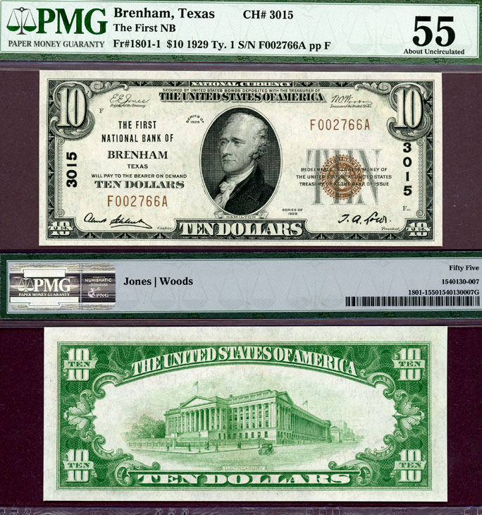 Texas Brenham 1929 $10.00 Type 1 FR-1801-1 Charter 3015 US small size national bank note PMG AU 58