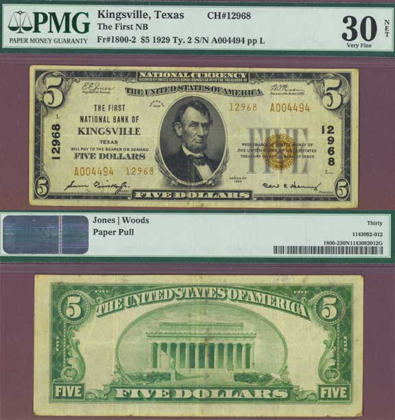 Texas 1929 $5.00 Type 2 FR-1800-2 PMG Very Fine 30 Kingsville