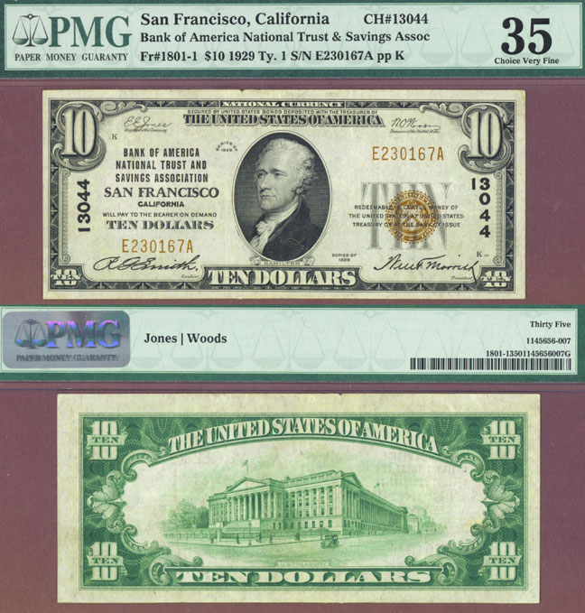Collectable US small size national bank notes