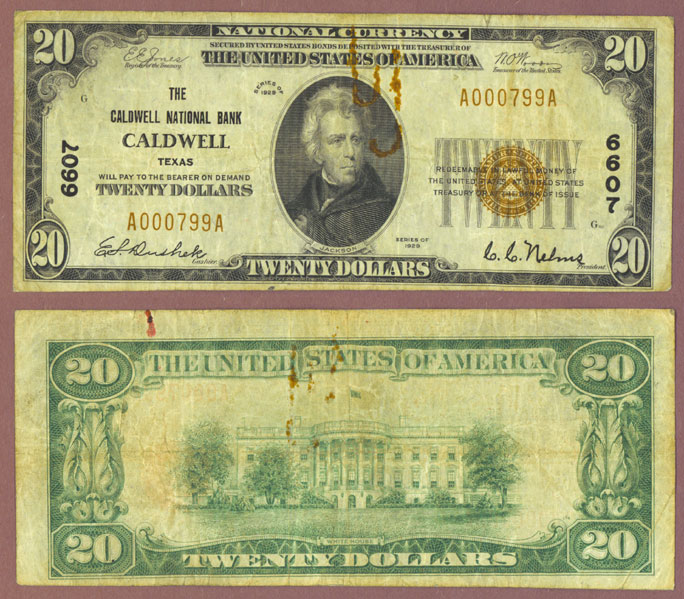 1929 $20.00 Type 1 FR-1802-1 Charter 6607 Caldwell Texas