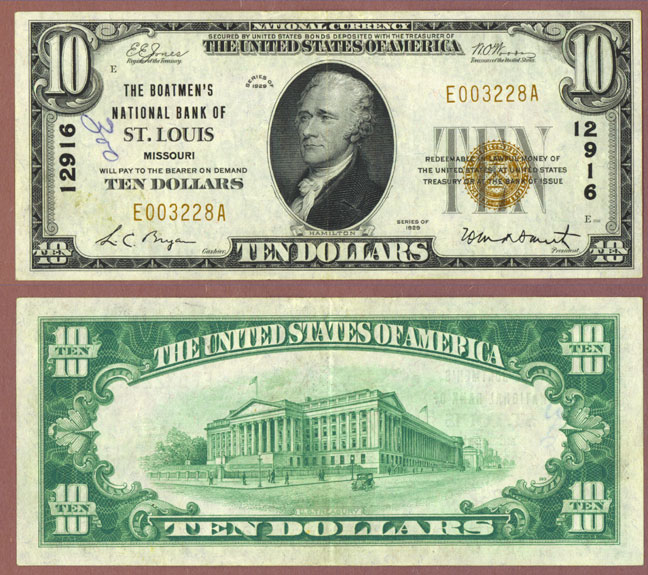 Missouri 1929 $10.00 Type 1 FR-1801-1 Ch-12916 National Bank Note