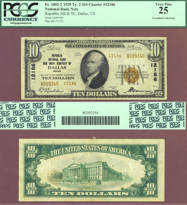 Texas 1929 $10.00 Type 2 FR-1801-2 Ch-12186 Small National Note PCGS Very Fine 25