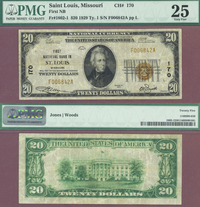 Missouri 1929 $20.00 Type 1 FR-1802-1 Ch-170 Small National Bank Note PMG Very Fine 25