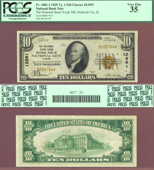 ILLINOIS 1929 $10.00 Type 1 FR-1801-1 Ch-12991 Small National Bank Note PCGS Choice Very Fine 35
