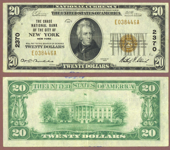 New York 1929 $20.00 Type 1 FR-1802-1 Small National Bank Note